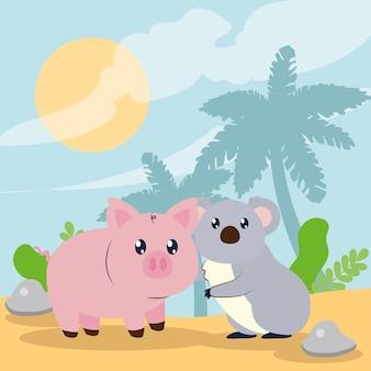 Leuke karakters van koala's en varkens