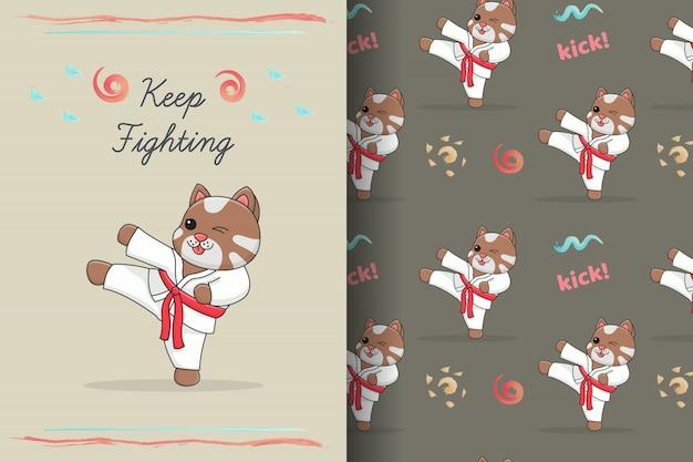 Leuke karatekat die naadloos patroon en kaart schoppen
