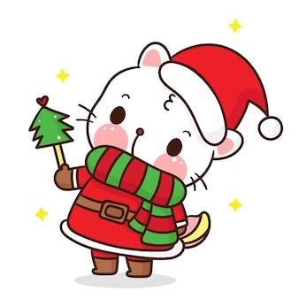 Leuke kat cartoon draag verkleedkleding en kerstmuts kawaiistijl