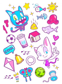 Leuke kat cartoon sticker vectorillustratie