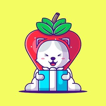 Leuke kat die aardbeikostuum met de cartoonillustratie van de giftdoos draagt. dierlijke platte cartoon stijlconcept