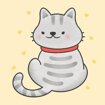 Leuke kat die beeldverhaalhand getrokken stijl achterover leunen