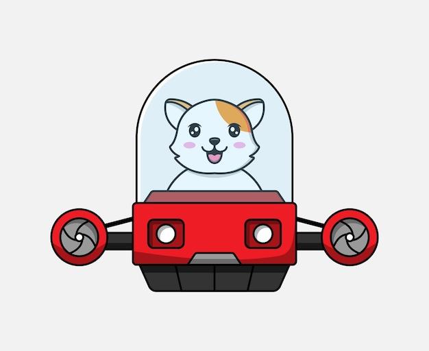 Leuke kat die een vliegend voertuig bestuurt