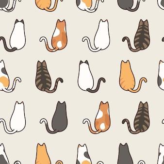 Leuke kat die naadloze patroonachtergrond zitten