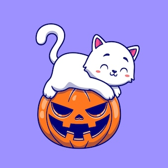 Leuke kat die op pompoen halloween-illustratie legt