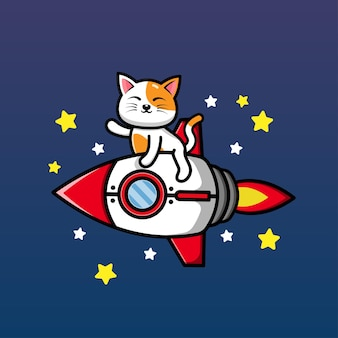 Leuke kat die raket berijdt en handbeeldverhaalillustratie zwaait
