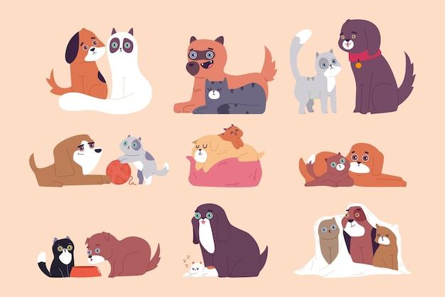 Leuke kat en hond beste vrienden cartoon set geïsoleerd op een witte achtergrond.