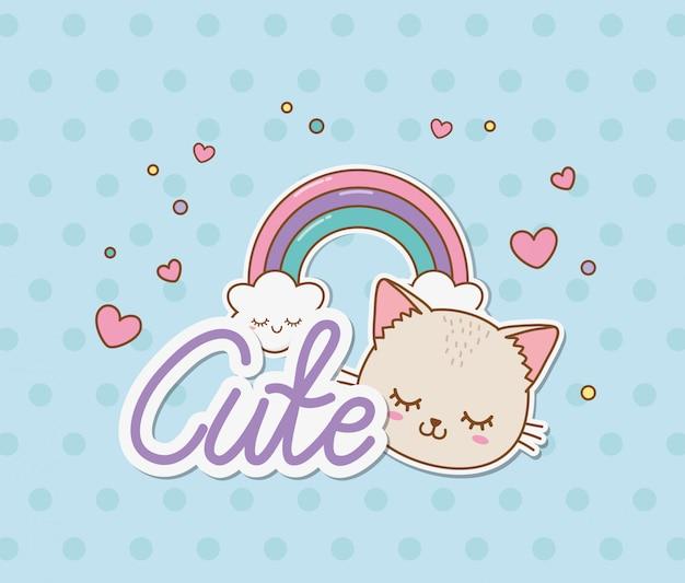 Leuke kat en regenboogstickers kawaiistijl