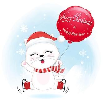 Leuke kat en rode ballon in de winter, kerstmisillustratie.