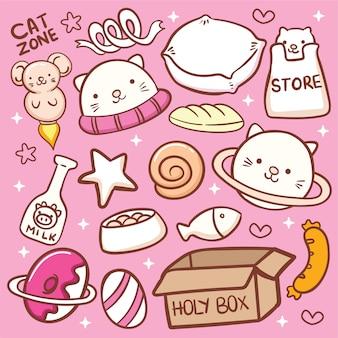 Leuke kat gerelateerde objecten doodle