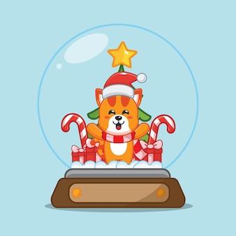 Leuke kat in sneeuwbol leuke kerst cartoon afbeelding