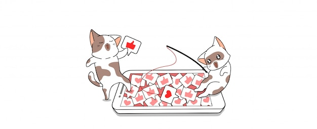 Leuke kat is vissen graag en hart pictogram