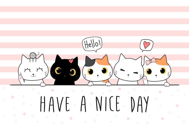 Leuke kat kitten familie groet cartoon doodle behang dekking
