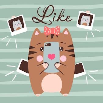 Leuke kat maakt selfie. grappige illustratie. idee voor print t-shirt.