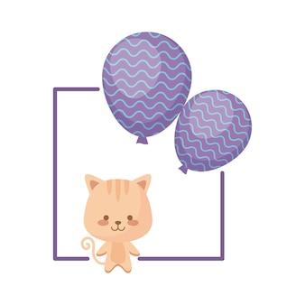 Leuke kat met ballonnen helium
