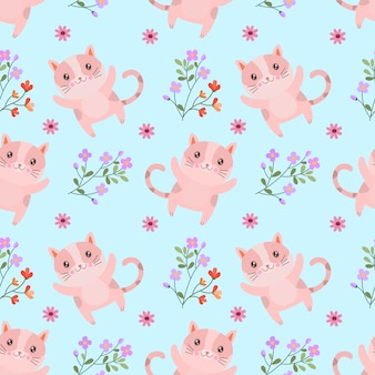 Leuke kat met bloemen naadloos patroon