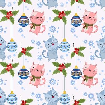 Leuke kat met kerstbal en sneeuw nep naadloos patroon.