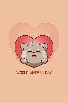Leuke kat met liefde in cartoonillustratie van werelddierendag Premium Vector