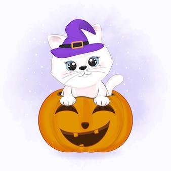 Leuke kat met pompoen en getekende cartoon dierlijke halloween-illustratie