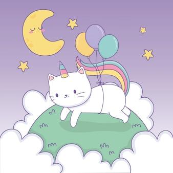 Leuke kat met regenboogstaart en ballonnen helium kawaii karakter