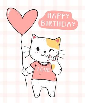 Leuke kat met roze hartballon gelukkig verjaardagsidee voor afdrukbare verjaardagskaart
