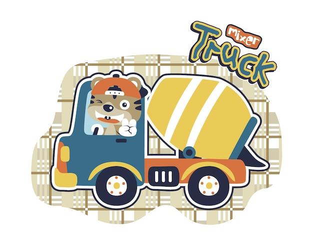 Leuke kat met vrachtwagen