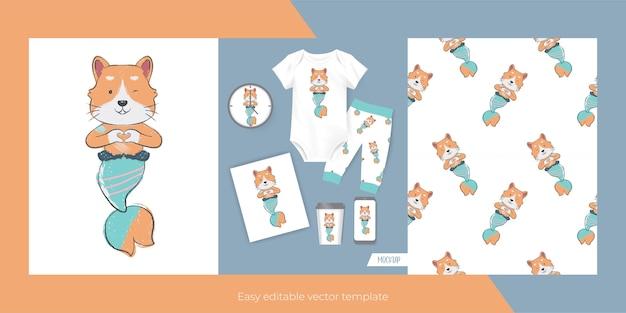 Leuke kat met zeemeermin op maat voor merch en naadloos patroon