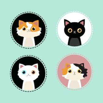 Leuke kat pictogram op geïsoleerde munt