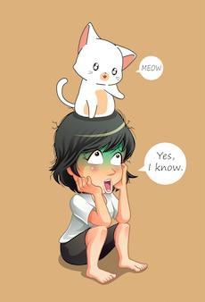 Leuke kat praat met meisje.