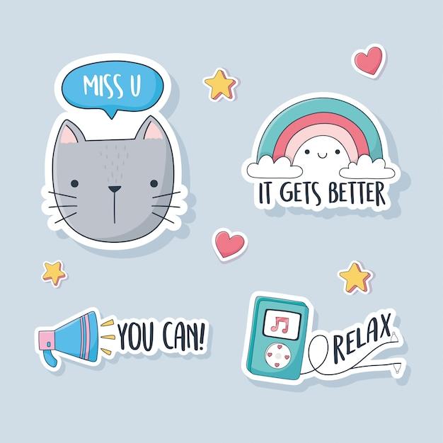 Leuke kat regenboogspeaker en mp3-muziekspullen voor kaarten, stickers of patches decoratie cartoon