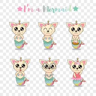 Leuke kat zeemeermin sticker set voor kinderen
