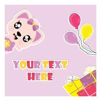 Leuke katje en verjaardagsgiften en vector het beeldverhaalillustratie van ballons voor verjaardagsuitnodiging