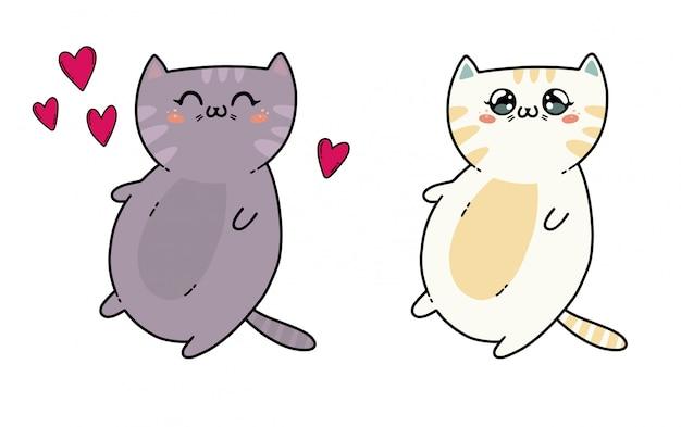 Leuke katjes in kawaiistijl van japan. de kat op wit wordt geïsoleerd dat