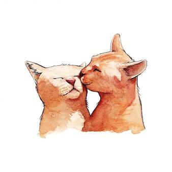 Leuke katten aquarel