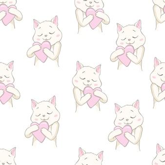 Leuke katten huisdier naadloze patroon