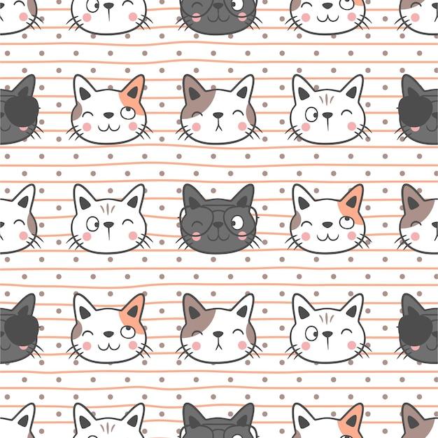 Leuke katten naadloze patroonachtergrond, leuk naadloos kattenpatroonontwerp