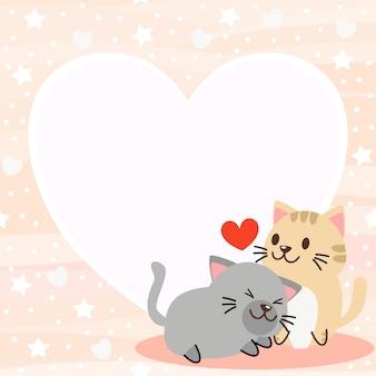 Leuke katten op valentijnsdag achtergrond.