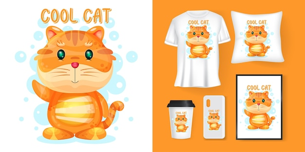 Leuke kattencartoon en merchandising