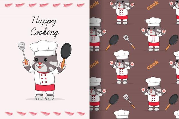 Leuke kattenchef-kok met naadloos patroon en kaart