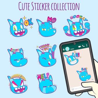 Leuke kattenemoji-stickercollecties