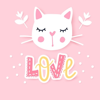 Leuke kattenillustratie. girly kittens. fashion cat's gezicht.