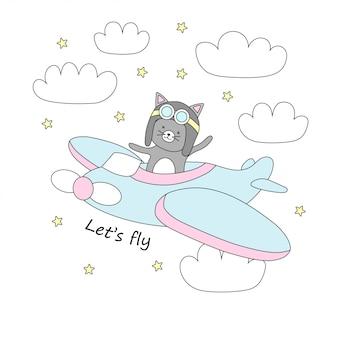 Leuke kattenvliegen op een vliegtuig in de hemel met sterren en wolken.