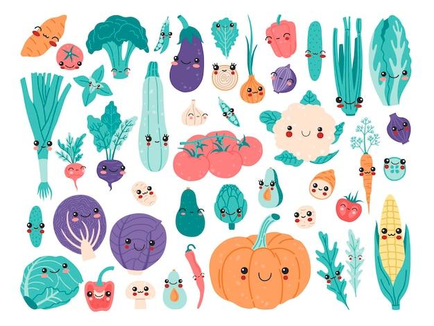 Leuke kawaii babygroenten set, grappige cartoon vitamine plant sticker collectie. glimlachend voedselkarakters concept, broccoli, knoflookaardappel, tomaat, pompoen, avocado, peper clipart in moderne vlakke stijl