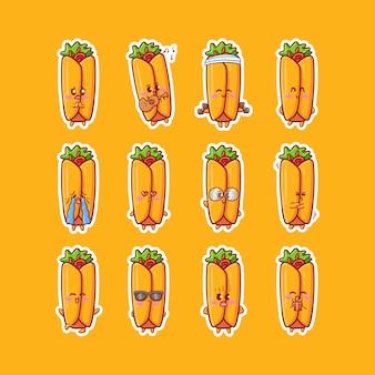Leuke kawaii burrito karakter sticker illustratie set met verschillende activiteit en vrolijke expressie