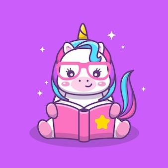 Leuke kawaii eenhoorn lezen boek cartoon illustratie