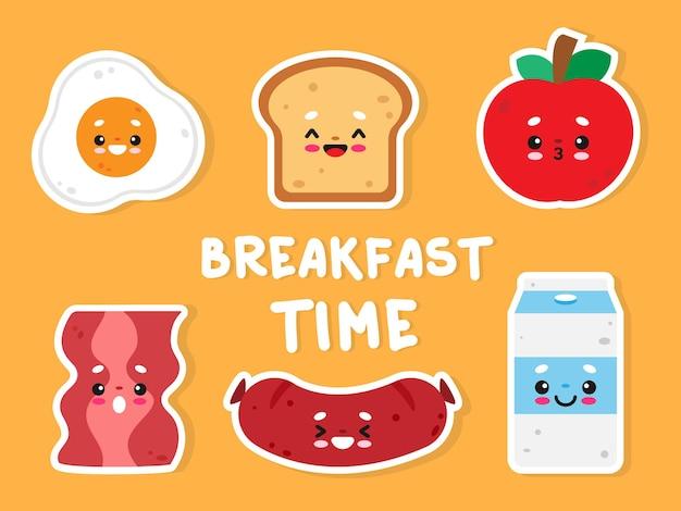 Leuke kawaii eten sticker ontbijt tijd stripfiguur