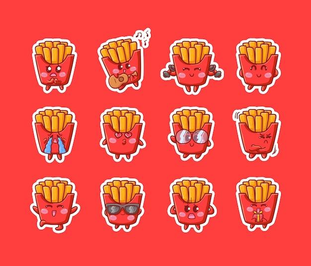 Leuke kawaii frietjes karakter sticker illustratie verschillende happy expression activity-mascotte