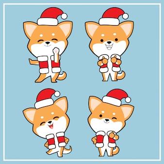 Leuke kawaii hand getrokken shiba inu hond karakter met kerst hoed collectie