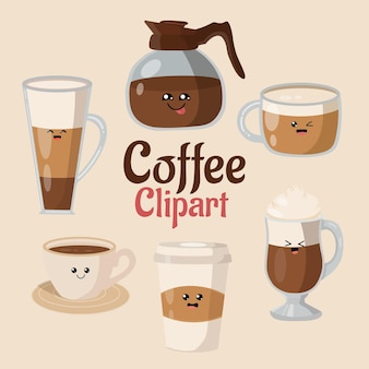 Leuke kawaii set koffie-elementen en koffieaccessoires clipart