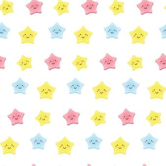 Leuke kawaii sterren. achtergrond voor kinderen, baby's en kinderen ontwerpen met lachende hemel tekens.